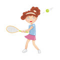 Girl racket white background Stock Photography