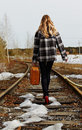 Girl on railroad Stock Image