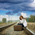 Girl on  railway Stock Photos