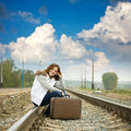 Girl on  railway Stock Images