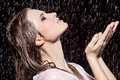 Girl in rain Royalty Free Stock Photos