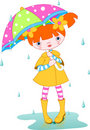 Girl rain Stock Images