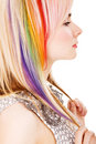 Girl with rainbow haircut Royalty Free Stock Photography