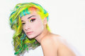 Girl with rainbowed hair and make up portrait colured on isolated background Royalty Free Stock Photos