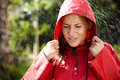 Girl in raincoat standing outside in rain Royalty Free Stock Photo
