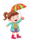 Girl in raining with umbrella Stock Images