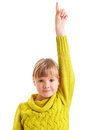Girl raising hand Stock Photography