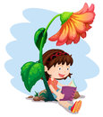 A girl reading a book below the giant flower illustration of on white background Stock Photography