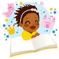 Girl reading fairy tale book little african american enjoying a Royalty Free Stock Image
