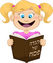 Girl reading from haggadah for passover vector illustration of a on Royalty Free Stock Photography