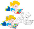 Girl reading little reads a book with colorful illustrations three versions of the illustration Stock Images