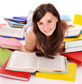 Girl reading open book . Stock Images