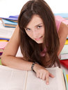Girl reading open book . Royalty Free Stock Photos