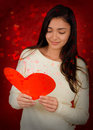Girl reading valentine s day card beautiful a heart shaped valentine's Stock Image