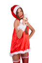Girl ready for the new year and you winking holding a glass in his hand Stock Photography
