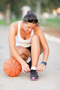 Girl ready to play basketball Royalty Free Stock Photo