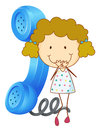 A girl with receiver illustration of phone on white Royalty Free Stock Image