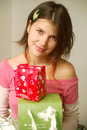Girl reciveing gifts Royalty Free Stock Images