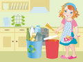 Girl recycling bottles Royalty Free Stock Photo