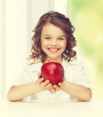 Girl with red apple picture of beautiful Stock Photo