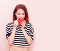 Girl with red cup Royalty Free Stock Photo