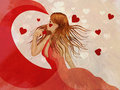 Girl in red dress with hearts Stock Image