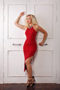 Girl in red dress and jewelry Royalty Free Stock Photo