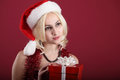 Girl with red gift Royalty Free Stock Images