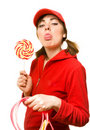 Girl in red grimacing Stock Photography