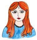 Girl with red hair hand drawn illustration watercolor and liner Royalty Free Stock Image