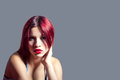 Girl with red hair portrait of a Royalty Free Stock Photography
