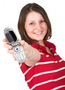 Girl in red with mobile phone Royalty Free Stock Photo
