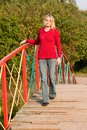 Girl in red pullover Royalty Free Stock Photography
