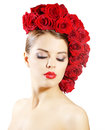 Girl with red roses hairstyle isolated on white portrait of smiling background Royalty Free Stock Photos
