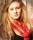 Girl with red scarf Stock Photo