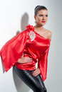 Girl in red silk tunic and black leggings posing Royalty Free Stock Photos