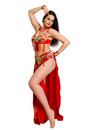 Girl in a red suit oriental dance Royalty Free Stock Photo