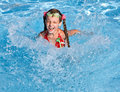 Girl with  red swimsuit  in swimming  pool. Royalty Free Stock Photos