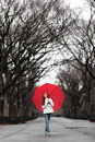 Girl with red umbrella walking in park in fall happy smiling multiracial asian woman cheerful central Royalty Free Stock Photos
