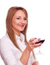 Girl with red wine Stock Photos