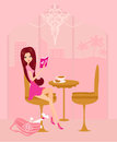 Girl relax by reading a book and drinking coffee illustration Royalty Free Stock Image