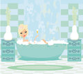 Girl relaxes in the bath illustration Stock Image