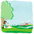 Girl relaxes in the park illustration Royalty Free Stock Image