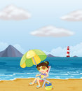 A girl relaxing at the beach illustration of Royalty Free Stock Photos