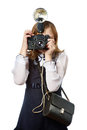 Girl reporter photographer with retro camera and flash isolated Royalty Free Stock Photos