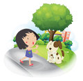 A girl rescuing a missing puppy illustration of on white background Royalty Free Stock Image