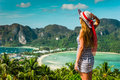 The girl at the resort in a dress on the background of the bays and hat island phi phi Stock Photo
