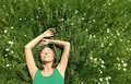 Girl resting in Meadow Stock Images