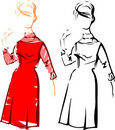 Girl. Retro Fashion Vector Sketches. Royalty Free Stock Photography