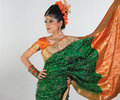Girl in rich silk green sari Royalty Free Stock Images